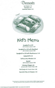 Desserts and Kids Menu